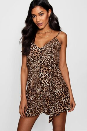 Jessica Leopard Print Slip Style Ruffle Playsuit
