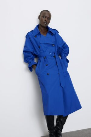 BUTTONED TRENCH COAT WITH BELT