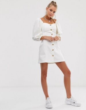Reclaimed Vintage inspired button front mini dress with puff sleeve
