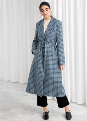 Houndstooth A-Line Belted Coat